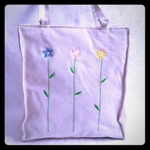 Handbags - Linen Canvas Tote Embroidered Flowers